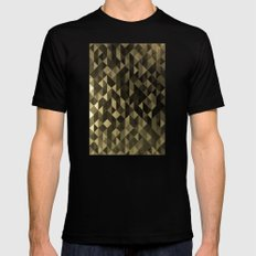 Gold triangles Black Mens Fitted Tee SMALL