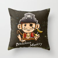 Dangerous Monkey! Throw Pillow