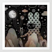 Art Prints featuring Nighty Night by Muxxi
