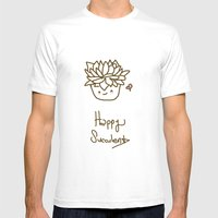 Happy Succulent Mens Fitted Tee White SMALL