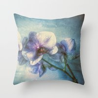 Vintage Orchids Throw Pillow
