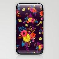 Hand Painted Flowers Bla… iPhone & iPod Skin