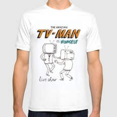tv man vs himself SMALL White Mens Fitted Tee