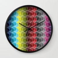 Hexagon Shades / Pattern #6 Wall Clock