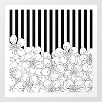 Cherry Blossom Stripes -… Art Print