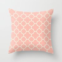 MOROCCAN {CORAL & OFF WH… Throw Pillow