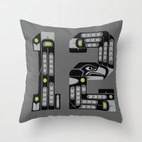 Seattle 12th Man - Black Throw Pillow