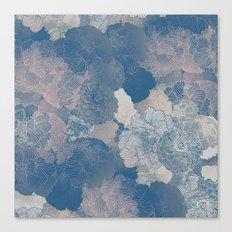 Airforce Blue Floral Hues  Canvas Print