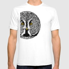Round Owl White Mens Fitted Tee SMALL