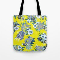 Floral pattern in Neon yellow Tote Bag