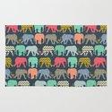 baby elephants and flamingos Rug