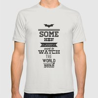 Dark Knight Mens Fitted Tee Silver SMALL