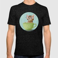 Kitten with glasses Mens Fitted Tee Tri-Black SMALL