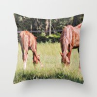 Horses Feeding In A Fiel… Throw Pillow