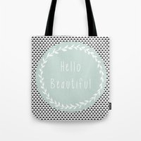 Hello Beautiful, Geometric, Quote, Modern, Home Decor Tote Bag