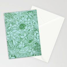 Blue square, green floral doodle, zentangle inspired art pattern Stationery Cards