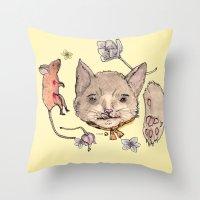 Al Gato Y Al Raton Throw Pillow