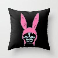 Grey Rabbit/Pink Ears Throw Pillow