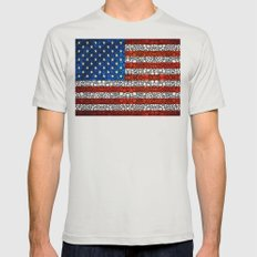 American Flag - USA Stone Rock'd Art United States Of America Mens Fitted Tee Silver SMALL