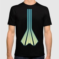 Retro Lines - Blue Flame Mens Fitted Tee Black SMALL
