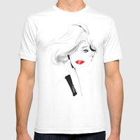 Woman with red lips Mens Fitted Tee White SMALL
