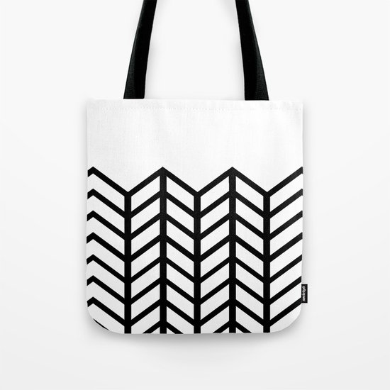 BLACK & WHITE LACE CHEVRON Tote Bag