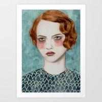 woman Art Prints featuring Sasha by Sofia Bonati
