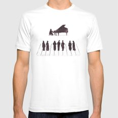 A Great Composition White Mens Fitted Tee SMALL