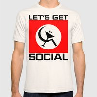 Let's Get Social Mens Fitted Tee Natural SMALL