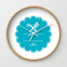 Spatula Flogger Whip Crossed Rosette Retro Wall Clock