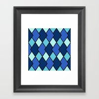 Big Harlequin Diamonds: Blue Multi Framed Art Print