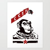 Soviet Space Monkey Art Print