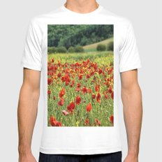 Poppies, Poppies, Poppies Mens Fitted Tee White SMALL