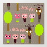 3 Little pigs Canvas Print