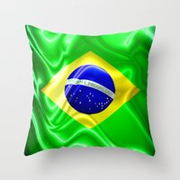 Brazil Flag Waving Silk Fabric Throw Pillow