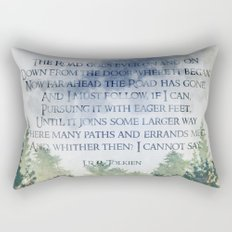 The Road Goes Ever On - LOTR poem, hobbit poem Rectangular Pillow