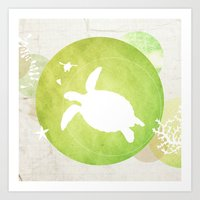 Ocean Series - Mama Turtle Art Print
