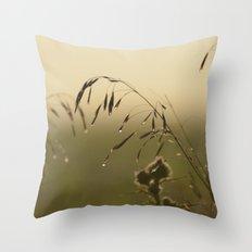 Morning Dew Bending Delicate Grass Throw Pillow
