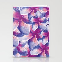Purple Plumeria Floral Watercolor Stationery Cards