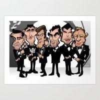 Faces Of Bond Art Print