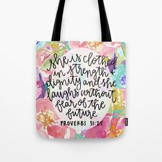 Proverbs 31:25 Floral //… Tote Bag