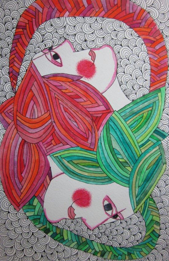 2 heads Art Print