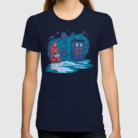 Big Bad Wolf Womens Fitted Tee Navy SMALL
