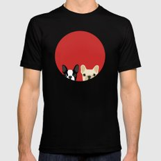 Boston Terrier & Cream French Bulldog RED Mens Fitted Tee Black SMALL