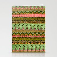 Pink and Green Pattern Stationery Cards