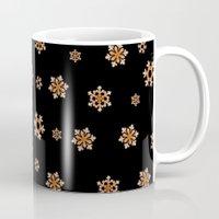 Snowflakes (Orange on Black) Mug