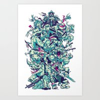 Teenage Zombie Ninja Turtles Art Print