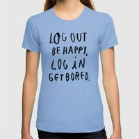 LOG OUT Womens Fitted Tee Athletic Blue SMALL