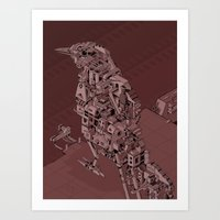 Red Bird Machine City Art Print