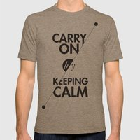 Carry On By Keeping Calm Mens Fitted Tee Tri-Coffee SMALL